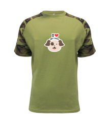 I love my dogs - kreslený Raglan Military